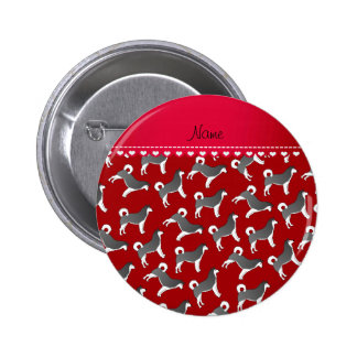 Personalized name red alaskan malamute dogs 2 inch round button