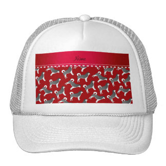 Personalized name red alaskan malamute dogs trucker hat