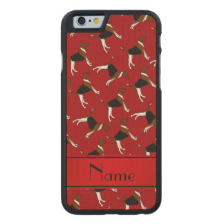 Personalized name red american foxhound dogs carved® maple iPhone 6 slim case