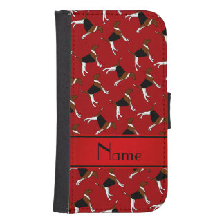 Personalized name red american foxhound dogs galaxy s4 wallet case