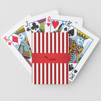 Personalized name red and white stripes bicycle playing cards