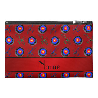 Personalized name red archery travel accessory bags
