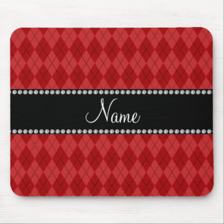 Personalized name red argyle pattern mouse pad