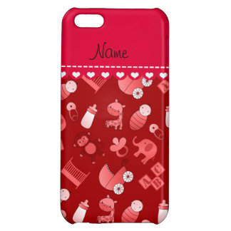 Personalized name red baby animals iPhone 5C case