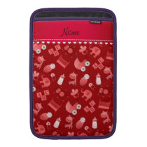 Personalized name red baby animals MacBook air sleeve