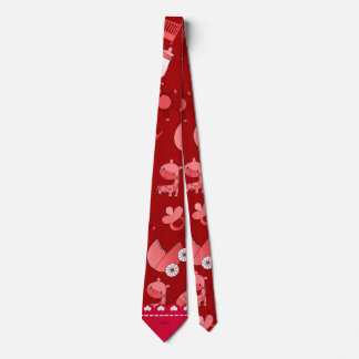 Personalized name red baby animals neck tie
