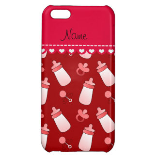Personalized name red baby bottle rattle pacifier iPhone 5C cases
