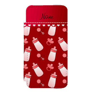 Personalized name red baby bottle rattle pacifier wallet case for iPhone SE/5/5s
