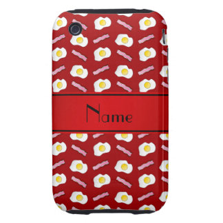 Personalized name red bacon eggs tough iPhone 3 cases