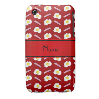 Personalized name red bacon eggs iPhone 3 cases