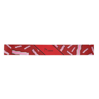 Personalized name red bacon pattern satin ribbon