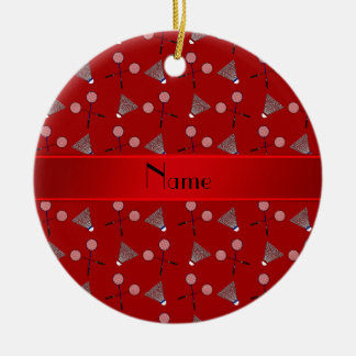 Personalized name red badminton pattern ceramic ornament