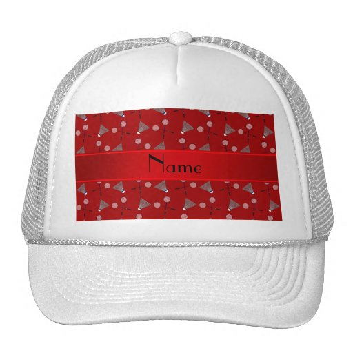 Personalized name red badminton pattern hats