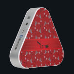 """Personalized name red badminton pattern speaker<br><div class=""""desc"""">Fun badminton gift ideas. Modern and trendy Custom name sports red badminton pattern with racquets and birdies background and with red stripe personalized with just add your name gifts or monogram gifts or your initials for a unique gift. Sports gift ideas for men and boys and girls. Ideal for birthdays...</div>"""