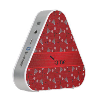 Personalized name red badminton pattern speaker