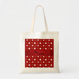 Personalized name red baseball bags