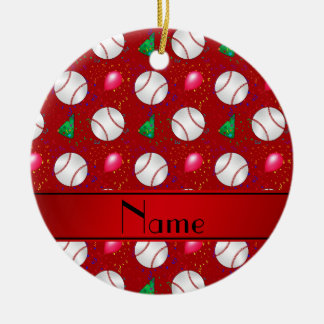 Personalized name red baseball birthday pattern ceramic ornament