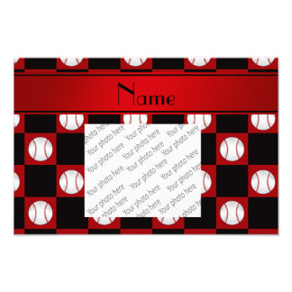 Personalized name red baseball checkers photo print