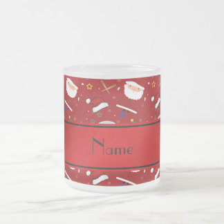 Personalized name red baseball christmas 10 oz frosted glass coffee mug