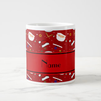 Personalized name red baseball christmas 20 oz large ceramic coffee mug