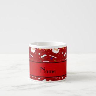 Personalized name red baseball christmas 6 oz ceramic espresso cup