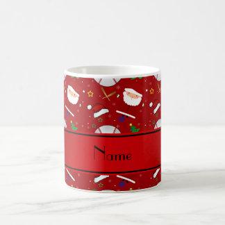 Personalized name red baseball christmas classic white coffee mug