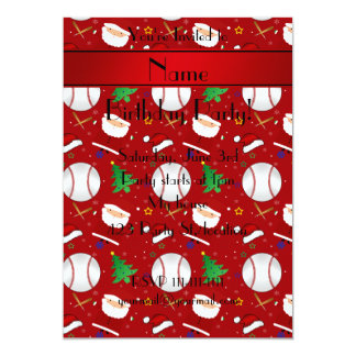 Personalized name red baseball christmas 5x7 paper invitation card