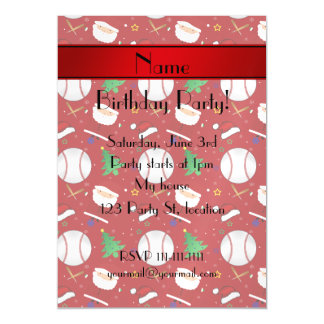 Personalized name red baseball christmas magnetic invitations
