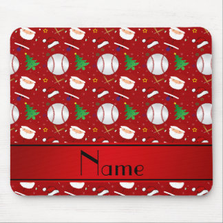 Personalized name red baseball christmas mouse pad