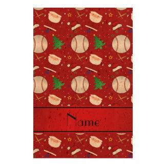 Personalized name red baseball christmas queork photo print