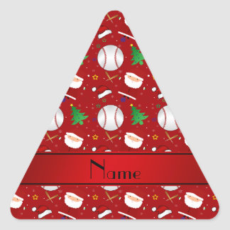Personalized name red baseball christmas triangle sticker