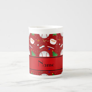 Personalized name red baseball christmas tea cup