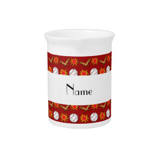 Personalized name red baseball pattern beverage pitchers