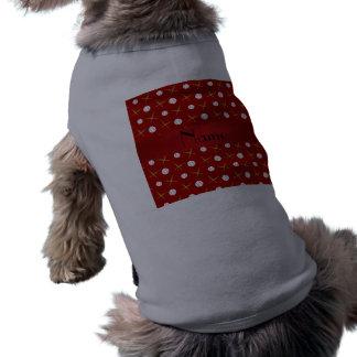 Personalized name red baseball pet tshirt