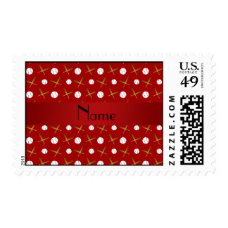Personalized name red baseball postage stamp