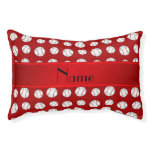 Personalized name red baseballs pattern small dog bed