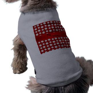 Personalized name red baseballs pattern doggie tshirt