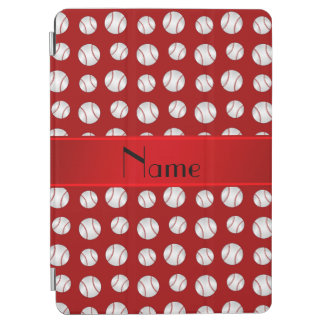 Personalized name red baseballs pattern iPad air cover