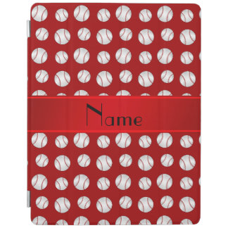 Personalized name red baseballs pattern iPad smart cover