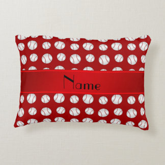 Personalized name red baseballs pattern accent pillow