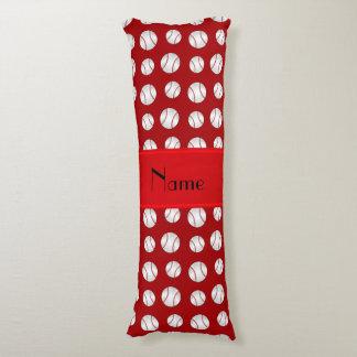 Personalized name red baseballs pattern body pillow