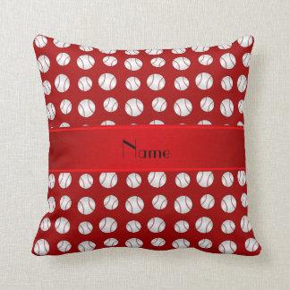 Personalized name red baseballs pattern throw pillow