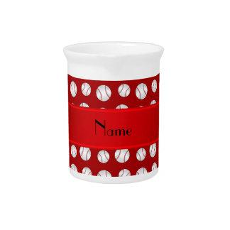 Personalized name red baseballs pattern beverage pitcher