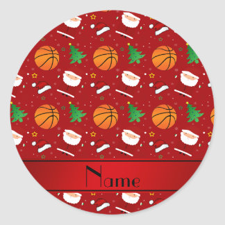 Personalized name red basketball christmas round stickers