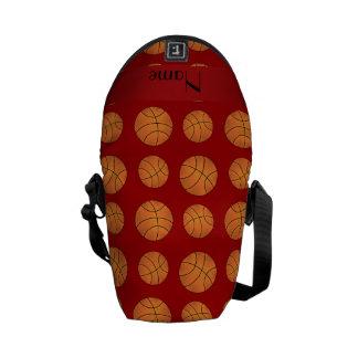Personalized name red basketballs messenger bag