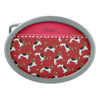 Personalized name red basset hound dogs oval belt buckles