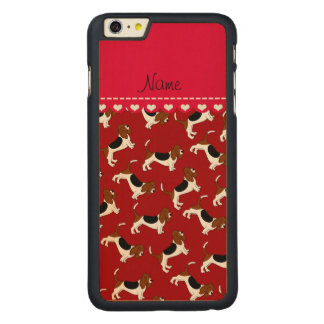 Personalized name red basset hound dogs carved® maple iPhone 6 plus slim case