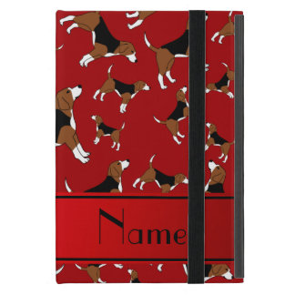 Personalized name red beagle dog pattern covers for iPad mini