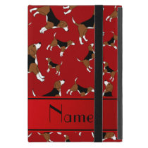 Personalized name red beagle dog pattern iPad mini cover