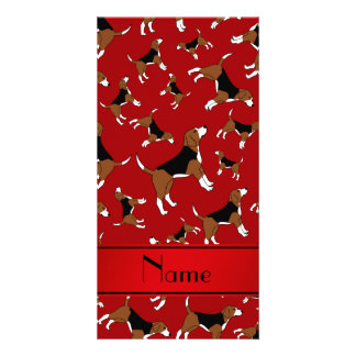 Personalized name red beagle dog pattern photo card